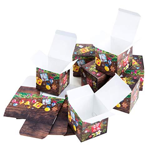 Logboek-uitgeverij kleine geschenkdoos Kerstmis cadeaudoos kleurrijke verpakking 7 x 7 cm doos doos voor kerstcadeau klant medewerkers give-away 10 Stück
