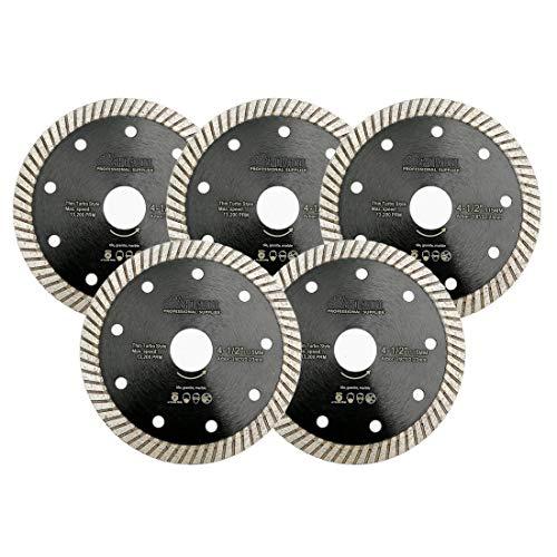 SHDIATOOL Disco Tronzador de Diamante 5 Piezas 115MM Hoja de Sierra Super Delgada para Porcelana Cerámico Azulejo Granito