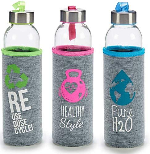 TAPAS & ENVASES RIOJA Botellas de Agua Cristal Botellas de Agua Reutilizables sin bpa con Funda de Neopreno Botella de Deporte térmica con tapón de Aluminio a Rosca Incluido de 500Ml (Multicolor)