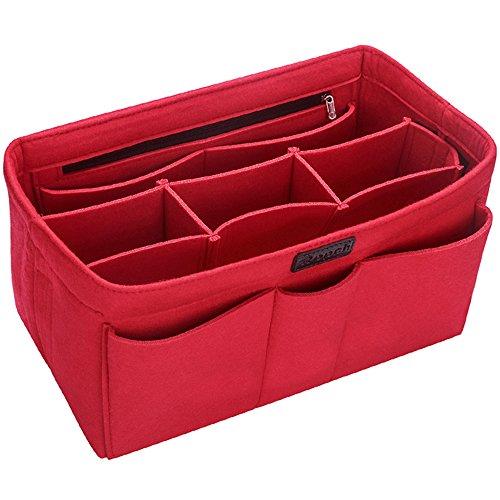 Ropch Taschenorganizer Filz Innentaschen für Handtaschen, Geldbeutel-Einsatz Reisetasche, Rot - L