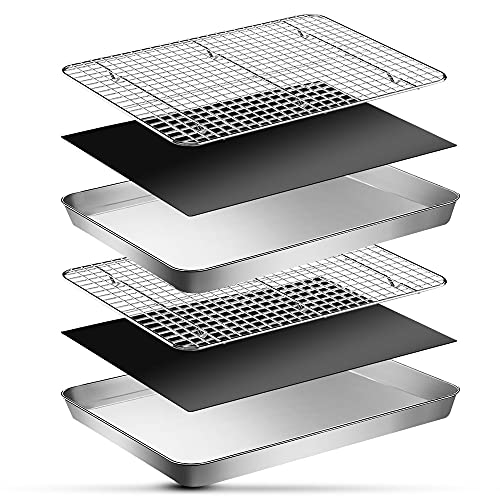 EMDMAK 6 Piece Baking Sheets with Cooling Rack Set,16 x 12 x 1 Inch Stainless Steel Cookie Sheet and Wire Rack & Baking Mat for Baking,Dishwasher Safe