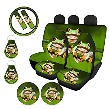 Upetstory Frog Seat Cover for Car Front Rear Seat Cover Full Set with Universal Steering Wheel Cover 14inch + Seatbelt Strap Cover+ Auto Cup Coasters+ Key Chains Frog Car Accessories