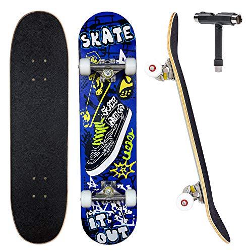 JECOLOS Pro Skateboard Complete 7 Layers Deck 31'x8' Skate Board Maple Wood Longboards for Adults Teens Youths Beginners Girls Boys Kids