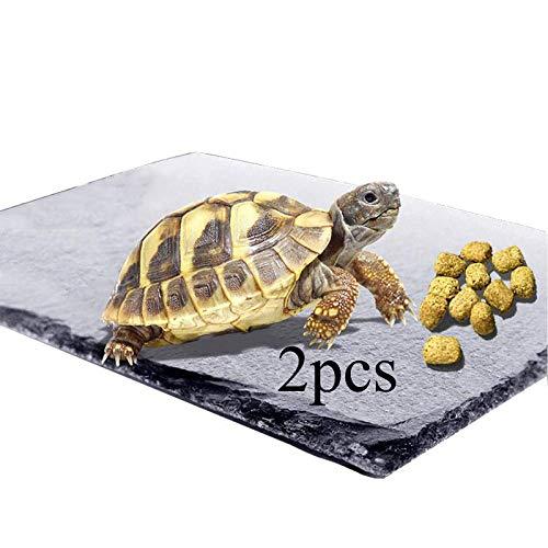 2 pcs Slate Reptile Basking Platform Tortoise Rock Plate Tortoise Dish Turtle Bathing Area Feeding Food Dish Resting Terrace