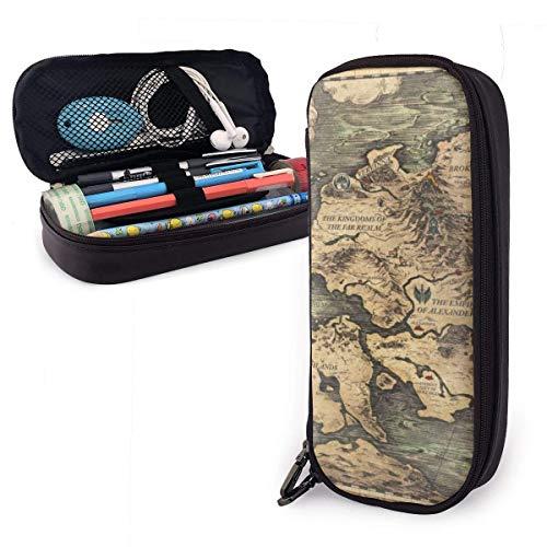 shenguang Azure Guard Pictures Cute Pen Estuche para lápices de cuero 8 X 3.5 X 1.5 pulgadas Estuche para lápices Estuche para lápices con doble cremallera Estuche para escuela Oficina Niñas