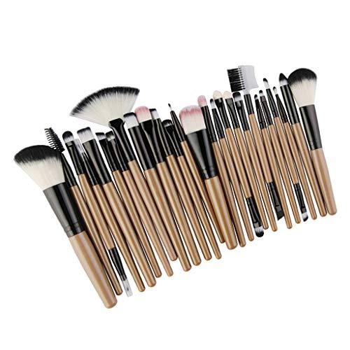 harayaa Ensemble de 25 Pinceaux Cosmétiques pour Maquillage Kabuki Blush Blending Brush Pinceau pour Fard à Paupières - Noir doré