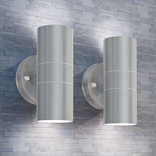 Lingjiushopping - Juego de 2 lámparas de pared para exteriores (acero, con difusor de cristal)
