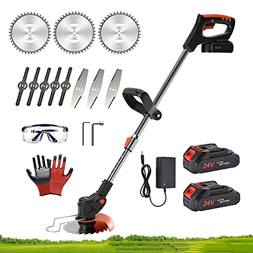 Cordless Strimmer Electric Garden Grass Trimmer Edger with 2Pcs 2.0Ah Lithium-ion Battery and Blades, Lightweight Powerful Lawn Mower, Adjustable and Telescopic Weed Shears Cutter Tool 24V,Black