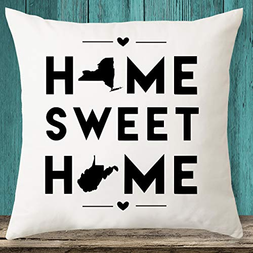Nueva York & West Virginia Home Sweet Home State Maps - Funda de almohada personalizada