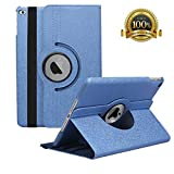 Hsxfl New iPad 9.7 inch 2018 2017/ iPad Air Case - 360 Degree Rotating Stand Smart Cover Case with Auto Sleep Wake for Apple iPad 9.7' (6th Gen, 5th Gen)/iPad Air(Sapphire Blue)
