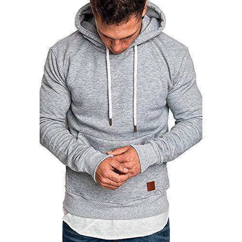 Sweats à Capuche, Solike Manteau Plier Manches Longues Solide Casual Sweatshirt Tops Pullover de Sport Automne Hiver M à 3XL (Large, Gris(b))