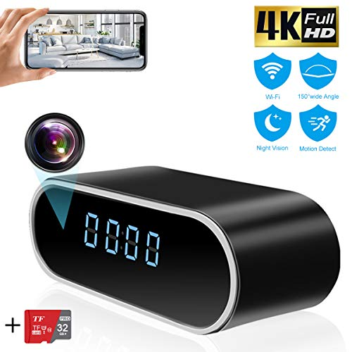 Hidden Camera Clock,TTCDBF HD 4K WiFi Spy Hidden Camera Wireless Nanny 1080P with Motion Detection,Night Vision,150Angle Real-time Video,Free 32G Card