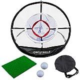 Crestgolf Filet d'entraînement pour Filet de Golf à 3 Couches pour Jardin intérieur extérieur, Tapis de Cage de Golf pour écaillage de Golf, Facile à Transporter et Pliable
