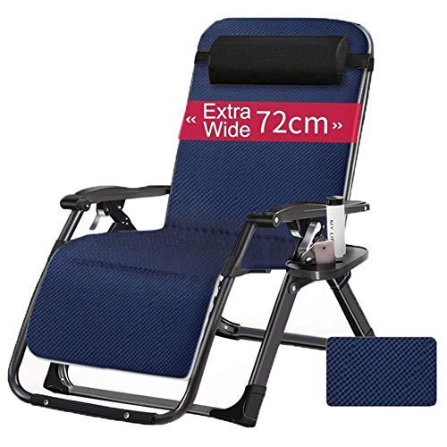 WJXBoos Cómodo sillón reclinable reclinable Plegable de Gravedad Cero reclinable para reclinable de Oficina Playa Extra Grande Soporte de Silla de terraza 440lbs (Color: con tapete 4D Transpirable)