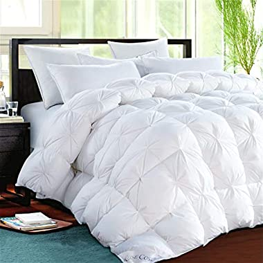 ROSECOSE Luxurious Heavy Goose Down Comforter King Size Duvet Insert Pinch Pleat 1200 Thread Count 750+ Fill Power 100% Cotton Shell Hypo-allergenic Down Proof with Tabs (King,White,Pinch Pleat)