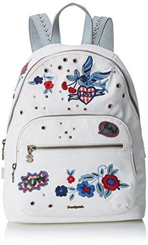 Desigual Bols_denim Flowers Lima Mujer Shoppers y bolsos de hombro Blanco 11x34x25...