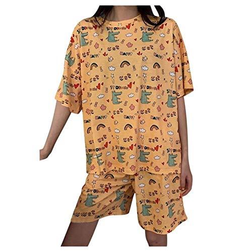 QVC Sommer-Schlafanzug für Damen, 2 Stück, gelb, Rundhalsausschnitt, kurze Ärmel, Cartoon-Druck, Pullover, Oberteile und Shorts, Anzug für Studenten, Nachtwäsche Gr. XX-Large, gelb