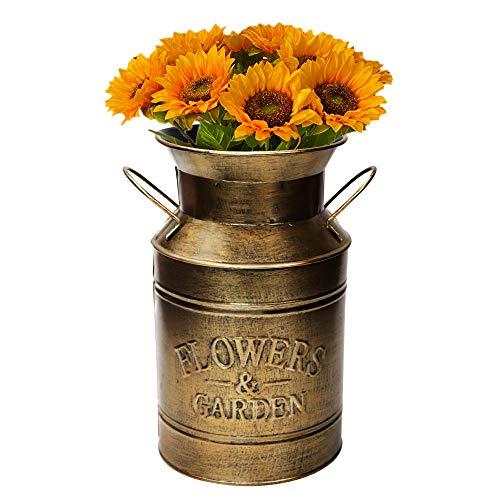Fovasen Große, antike goldverzinkte Milchkanne im Vintage-Stil, Landhausstil, Vase für Zuhause, Büro, Hochzeit, Dekoration, 21,6 cm