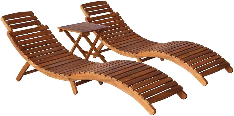 Tidyard 3-TLG. Sonnenliegen-Set Sonnenliege mit Klapptisch Gartenliege Klappbar Liegestuhl Massiv Akazienholz Braun inkl. 2 Sonnenliege 190 x 60 x 51 cm und 1 Beistelltisch 40 x 40 x 40 cm