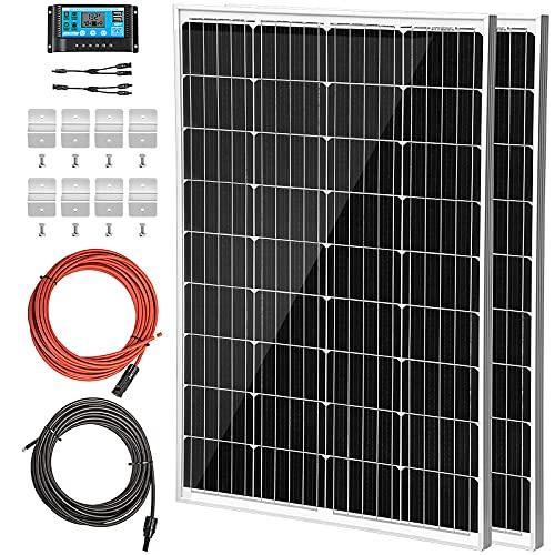 VEVOR Panel Solar 300 W Kit de Panel Solar 12 V Panel Solar Monocristalino 8,33 A Kit Placa Solar con Controlador de Carga Células de Panel Solar Monocristalino Cable 10 m para Caravana Barco Camping