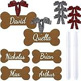 6 Piezas Adornos de Huesos de Perro de Árbol de Navidad Decoración Colgante de Madera de Hueso Marrón Adornos Navideños de Mascotas con Bolígrafos de Marca y Cintas de Cuadros de Búfalo