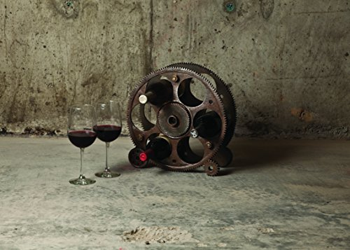 Foster & Rye 2755 Gears Countertop Rack and Wine Bottle Holder, Copper