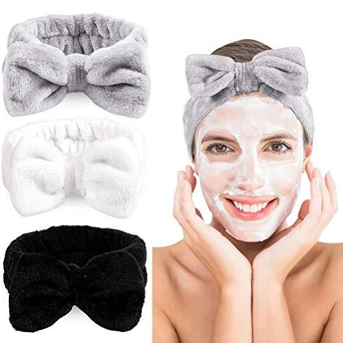 Spa Stirnband Bowknot Stretch Handtuch 3 Stück Stretch Handtuch Kopfwickel Gesichtswäsche für das Gesichtswaschen Bad Make- up