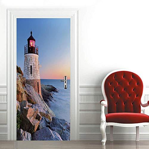 Azbza Pegatinas para puerta de cristal 3D, 37 x 85 pulgadas, para fotografía de faro de mar, pintura de pared, para pared, sala de estar, dormitorio, decoración