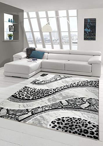 Teppich modern Wohnzimmerteppich mit Leoparden Muster in grau schwarz Creme Größe 160x220 cm