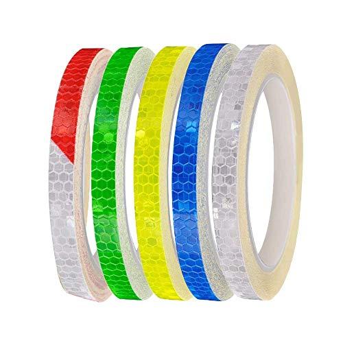 Reflektorband,5 Rollen Reflexstreifen, Reflexfolie Sicherheitswarnband 1CM Breit für Autos Anhänger Fahrräder Helme usw