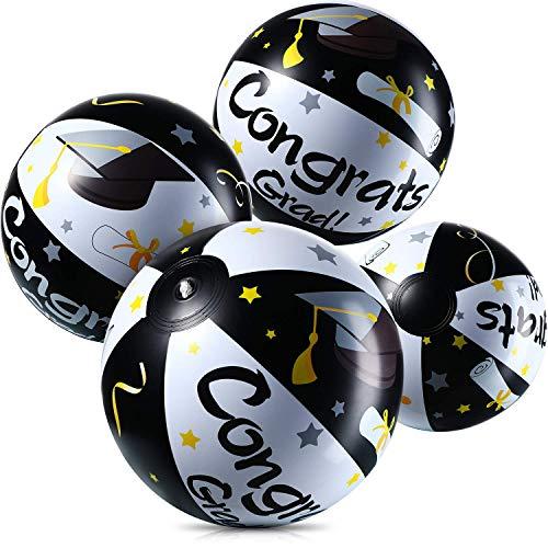 Blulu 4 Stück Aufblasbar Wasserbälle für Abschluss, Jumbo Congrats Grad Zeichen Aufblasbare Strandball Andenken zum Autogramm oder Werfen für 2020 Abschluss Party und Party Gefallen (Schwarz Gold)