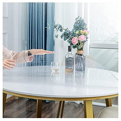 Sonakia Mantel Vinilo Plástico Lavable,Cubierta De Mesa Cristal Transparente 2mm Espesor,manteles Redondo PVC Impermeable/Antimanchas para Comedor,Cocina,Escritorio,fácil Limpiar,60cm/23.5in