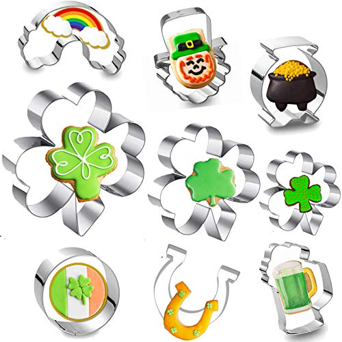 9pcs St.Patrick's Day Cookie Cutter Set - Stainless Steel Irish Festival Cookie Molds Including Shamrock Clover Horseshoe For Baking Decorative Food Sandwich Saint Patrick's Day Party Supplies