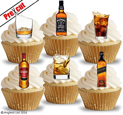 Anglesit Other vorgeschnittenen Whisky Gläser & Getränke essbarem Reispapier/Waffel Papier Cupcake Kuchen Topper Geburtstag Vatertag Party Dekorationen
