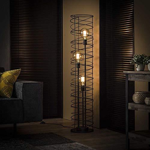 famlights Stehleuchte Charlotta aus Metall, Anthrazit, 3xE27, 140cm, Industrial Design   Stehlampe für Wohnzimmer,...