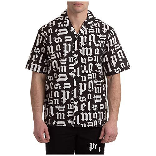 Palm Angels Hombre Camisa de Manga Corta Monogram Black - White 50 EU