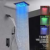 Columna de Ducha Conjunto de grifos de ducha digitales negros Cabezal de ducha de lluvia LED Cascada Ducha de temperatura digital Mezclador de grifo Grifo de ducha oculto-Juego completo de 8 pulgadas