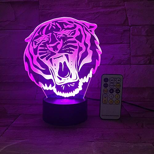 3D Animal Angry Roar Howling Tiger Lion House Decoration USB Lamp Toy Gift Luminarias Color Change Flash LED Night Light Gift