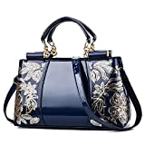 MIMITU Bolso de mujer bordado Monederos y bolsos de cuero Bolsos de hombro de lujo Bolsos cruzados Bolso de mujer para mujer Bolso de mano, Azul