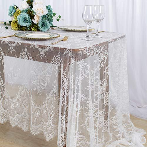 Mantel de encaje blanco para decoración de fiesta de boda, mantel oblongo de 156 x 300 cm, mantel rectangular de encaje vintage para decoración al aire libre, cubierta de mesa de encaje de vinilo