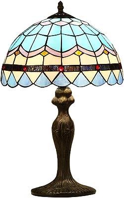 Lampe de table Mode Lampe de Chevet Durable Petit Abat-Jour en Verre Peint QIQIDEDIAN (Size : M)