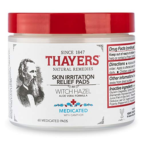 THAYERS Medicated Aloe Vera Topical Pain Relief Pads, Clear/White, Witch Hazel, 60 Count