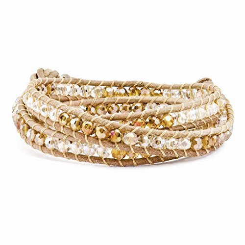 ICE CARATS 4mm Multi Color Crystals Wrap Tan Leather 925 Sterling Silver Button Bracelet Adjustable Stretch Fine Jewelry for Women Gift Set