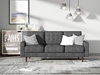 Container Furniture Direct Matte Velvet Mid Century Modern Tufted Living Room Sofa 71.7  Grey