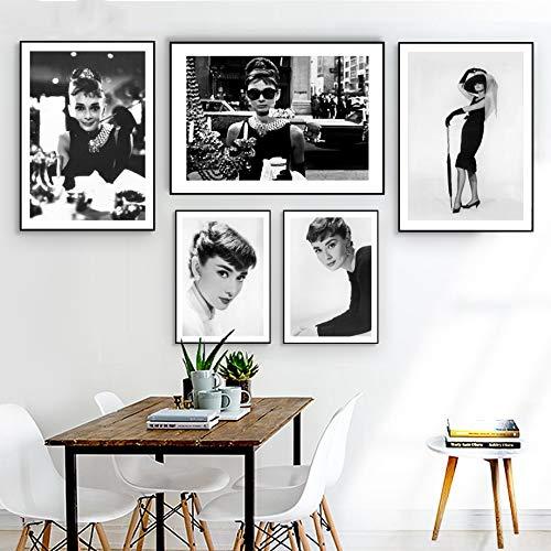 SDFSD 5 stuks kunst canvas schilderij modulaire print Marilyn Monroe Audrey Hepburn Picture Hollywood Movie Star Nordic Poster Living Room Home Decor zoals afgebeeld