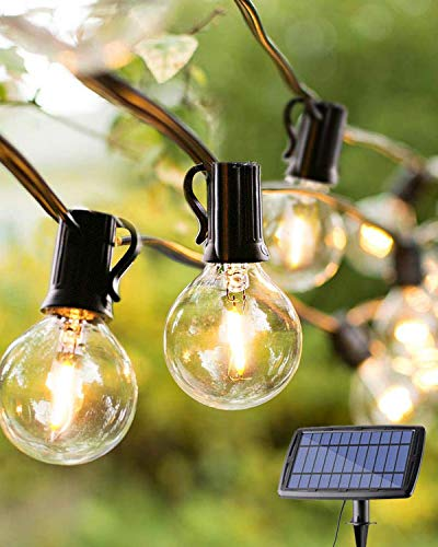 Upgraded Solar Outdoor String Lights, 25ft G40 Festoon Lights with 25+3 Clear LED Bulbs, Warm White 4 Lighting Modes, Rechargeable Garden Lights for Home Party, Patio, Backyard, Outdoor/Indoor Decor