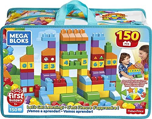 Mega Bloks Juego de bloques de construcción bebé 1 año Construye y Aprende (Mattel FVJ49)