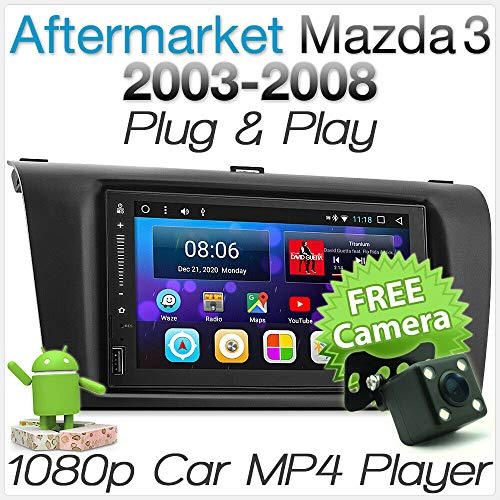 tunez 7 zoll doppel din android auto gps mp4 mp3 usb player für mazda 3 bk mazda3 2003-2008 stereo radio head unit fascia iso kit