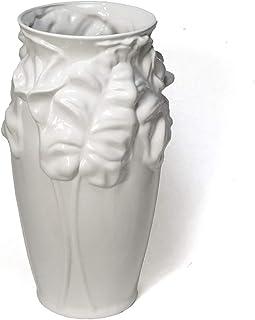 ヨーロッパ 白地 陶器 傘立て ポルトガル製 樽型 ホワイト フラワー カラー リリー pfa-260w