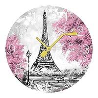 パリの通り 壁掛け時計 木製掛け時計電池式 掛け時計 おしゃれ 円形 静音 ウオールクロック インテリア 部屋装飾